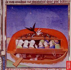 Noah's Ark Paris c. 1411 Royal 19 D. Medieval Paintings, Old Paintings, Miniature Paintings, Medieval Life, Medieval Art, Medieval Manuscript, Illuminated Manuscript, Rabe, Book Sculpture