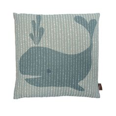 Whale Blue Cushion By Maria Hatling. This charming cushion by Maria Hatling, features a printed whale design. Mix with complementary Maria Hartling cushions to create a whimsical display.