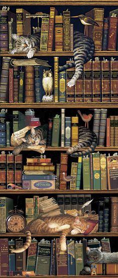 "Cats in Book Stacks or Classic Tails by Charles Wysocki: ""Frederick the Literate,"" Remington the Well-Read,"" and ""Max in the Stacks"""