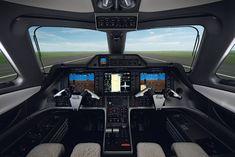 Impressively simple avionics for the Embraer Phenom 100 light business jet. Love the shape of the yokes.
