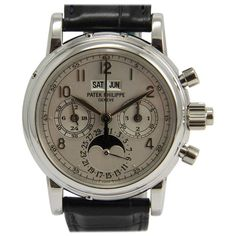 Patek Philippe Platinum Chronograph Wristwatch Ref 5004 P | From a unique collection of vintage wrist watches at https://www.1stdibs.com/jewelry/watches/wrist-watches/