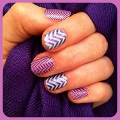 white chevron over lavender sparkle paired with purple herringbone.