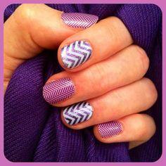 white chevron over lavender sparkle paired with purple herringbone.