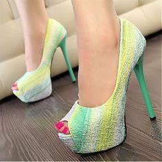 2015 New Women Fashion Pumps Peep Toe Heels, High Heel Pumps, Women's Pumps, Stiletto Heels, Stilettos, Platform Pumps, Green High Heels, Prom Shoes, Women's Shoes