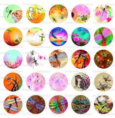 """Images digitales """"Les libellules"""" planche N°3 : 45 Images digitales cabochons ronds 25 mm : Images digitales pour bijoux par safamod-perles"""