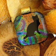 Rainbow Cat Silhouette  Dichroic Fused Glass Pendant by GlassCat, -Is this the word you were looking for Mary?