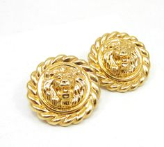 Gold Tone Lions Door Knocker Lions Head Clip On Earrings Statement Chunky Earrings Vintage Estate Runway Costume Jewelry 1980s High End - pinned by pin4etsy.com