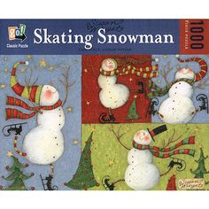 "Susan Winget's Skating Snowman is full of holiday charm. Bundle up as you assemble this puzzle featuring elegant and graceful snowmen on skates. This 1000-piece jigsaw puzzle measures 19 5/8"" x 29 1/2"" when complete and is intended for ages 12 and up. $14.99 http://calendars.com/Christmas/Susan-Winget-Skating-Snowman-1000-Piece-Puzzle/prod200900010659/?categoryId=cat00134=cat00134#"