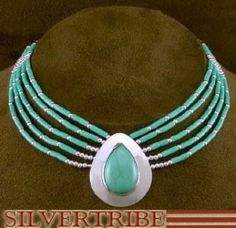 Liquid Silver & Green Turquoise Tear Drop Necklace