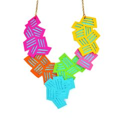 Geometric Statement Necklace Neon Color Block by BooandBooFactory, $72.00