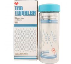 Double walled glass tea tumbler keeps your tea hot and your hands cool while you're on the go. Features a snap-in, stainless steel tea strainer to use with bagged or loose tea. Glass part is top dishwasher rack safe. 10fl.oz./300ml.