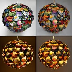 This is a gorgeous pendant lamp shade created by applying circular pieces from assorted glossy flower magazines to a round paper lantern. The lantern is approximately 12 inches (30.5 cm) in diameter and the maximum light bulb recommended for this size paper lantern is a 60 watt bulb.