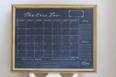 Family custom chalkboard calendar in a vintage gold frame. With chores, notes, upcoming dates and month space. Fit for post it notes.