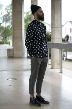 Polka dot shirt beanie beard tumblr Style men