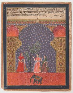 """ca. 1590. """"Solanki Raga"""", seen through an arched opening, three sari-clad women meet in a flowering garden around a tree, with the raga identified as solanki, in both Devanagari, a native Indian script, and Persian used by the Mughals. Some of the earliest depictions of musical modes in Indian painting originated in the Deccan, at centers such as Ahmadnagar, where images like this form the visual expression of the mood and sentiment of a classical raga, or musical composition."""