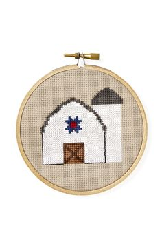 Country Living's Free Cross-Stitch Pattern - Barn Pattern. I love this barn with a barn quilt in the pattern.