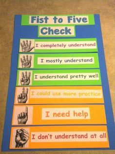 "When you say ""fist to five check"" students rate their understanding by holding up the appropriate number of fingers. The goal is for everyone to be in the green. Great way for students to self-assess their understanding and help you to gauge student understanding. - a quick, daily self-reflection."