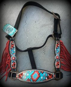 Red Aztec Cheek Halter With Fringe IN STOCK - DEUCES WILD TACK LLC