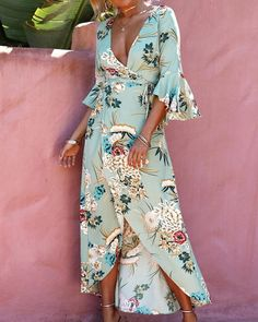Chicloth Sleeves Floral Printed Maxi Dress V Neck Flared Cheap Maxi Dresses, Cheap Dresses Online, Sexy Dresses, Casual Dresses, Lace Dresses, Summer Dresses, Maxi Skirts, Homecoming Dresses, Wedding Dresses