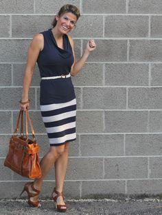 Striped skirt + skinny belt    http://marionberrystyle.blogspot.com/