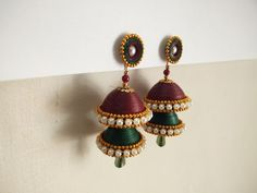 quilled indian tradition jhumkas: Paper Quilling Jewelry, Quilling Earrings, Handmade Jewelry, Indian, Traditional, Drop Earrings, Polymer Clay, Jewellery, Quilling Jewelry