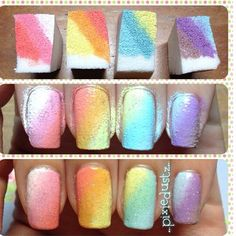 Sponge nail art - tutorial on how to do ombré nail Cute Nails, Pretty Nails, Sponge Nail Art, Diy Nails With Sponge, Makeup Sponge, Nail Polish Art, Beautiful Nail Designs, Nagel Gel, Nail Art Diy