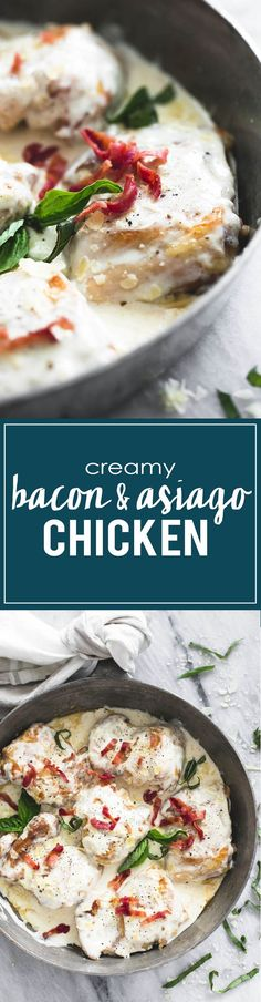 Creamy 20-minute Asiago Bacon Chicken | http://lecremedelacrumb.com