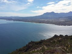 """Gordons Bay - part of the Helderberg area - which includes Strand and Somerset West. Views from Steenbras dam """"on top"""" of the Hottentots-Holland mountains. Helderberg mountain on the horison. Somerset West, Table Mountain, Coastal Homes, Bay Area, South Africa, Holland, Country Homes, Mountains, City"""