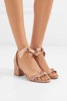Heel measures approximately 60mm/ 2.5 inches Taupe suede and satin-twill  Ties at ankle  Designer color: Cameo