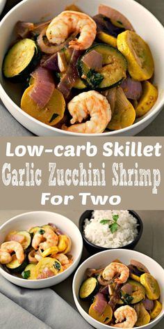 This Skillet Garlic Zucchini Shrimp is super easy, delicious, and low-carb. This dish is quick, ready in just 20 minutes and makes a great lunch, dinner, or romantic date night meal for two. Other vegetables that can work in this recipe are broccoli, asparagus, or Brussels sprouts. #LowCarb #shrimp #seafood #zucchini #garlic #DinnerForTwo #LunchForTwo #RecipesForTwo #skillet #OnePan #OnePot