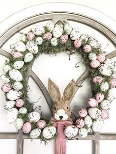 diy farmhouse speckled egg wreath, Farmhouse wreath, Spring Wreath, Easter Wreath, Dollar Tree crafts, DIY Dollar tree, Hobby Lobby Easter