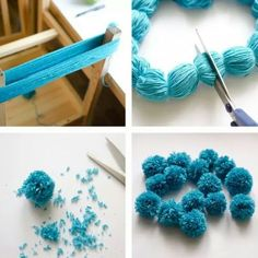 "Noticias ""the easiest way to make multiple pompoms."", ""Ponpon Yarn pom-poms the easiest way ever diy tutorial."", ""The Easiest Ever Yarn Pom-poms DIY"