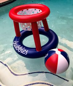 Pool party games take on their own life with an inflatable floating basketball hoop and ball.