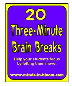 Kids NEED brain breaks. They need time to think and process but also need time for fun and relaxation. This pin involves activities that allow the students to move around and be active instead of sitting down the whole entire class.