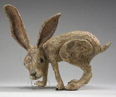 A crazy paper mache rabbit.
