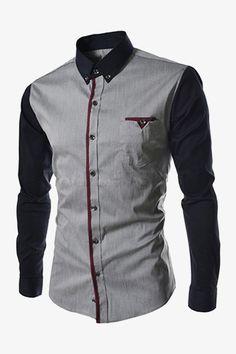 Men's Bicoloured Shirt In Gray