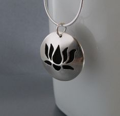 Lotus Flower Sterling Silver Essential Oil by QuietTimeJewelry