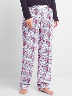 Gap Womens Print Flannel Sleep Pants Winter Floral