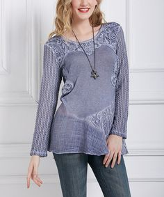 Simply Couture Blue Patchwork Tunic | zulily  . $39.99 Compare at $99.00  . ( SIZE  CHART )   .http://www.zulily.com/p/sizechart/41672342?fromEvent=206873   . S . M . L . XL .  Product Description:  This casual look sports a fun patchwork pattern that includes crocheted panels as well as semi-sheer details on the hemline.      Body: 100% cotton .     Lining: 65% rayon / 35% polyester .     Hand wash .     Imported .