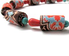 Mandarin spring wearable art  fiber necklace by Gilgulim on Etsy
