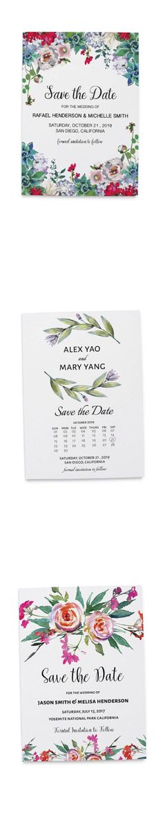 Unique collection of save the date cards with leaves and floral decorations to personalize for your wedding