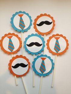 12 MustacheTie Cupcake ToppersLittle Man First by MiaSophias, $11.99