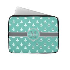 Teal Gray White Ship Anchors Monogram Computer Sleeves #nautical #laptopsleeve #shipanchors #monogram #monogrammed