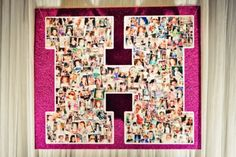"For this Bat Mitzvah, photos of the Bat Mitzvah girl starting at age 2 were incorporated into this large ""H."""