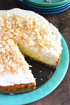 This Coconut Cheesecake is hands down, my favorite dessert to date. Graham cracker coconut crust, creamy coconut cheesecake, whipped cream and toasted coconut – it's the ultimate coconut lovers treat. Recipe from @whattheforkblog | whattheforkfoodblog.com