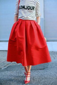 full red midi skirt