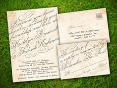 Wedding Invitation and RSVP Card Suite - Vintage Rustic Cursive Calligraphy Customizable Elegant Double Sided DIY Printable on Etsy, $26.77 CAD