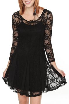 BLACK LACE 3/4 SLEEVE DRESS  Was: $39.50 Now: $27.98  This black lace dress features 3/4 length sleeves, a mesh paneled skirt and a spaghetti strap slip dress underneath #hototpic