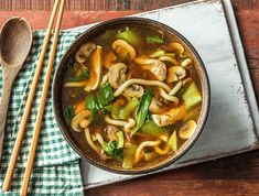 Japanese noodle soup with chicken from Clean Eating Recipes, Easy Healthy Recipes, Asian Recipes, Vegetarian Recipes, Easy Meals, Chicken Fillet Recipes, Hello Fresh Recipes, Deli Food, Asian Cooking