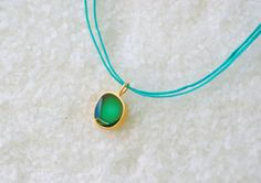 Minimalist Gold Necklace, Green Enamel, Tiny Layering Necklace, Golden Plated Bronze,Adjustable Cord/ Gift for Her